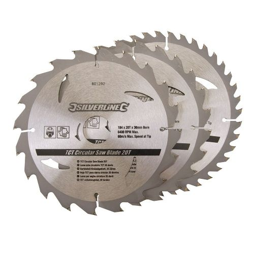 3 Pack Silverline 801292 TCT Circular Saw Blades 20, 24, 40 Teeth 184mm x 30mm